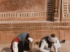 Restoration work at the mosque in the Taj Mahal, Agra.