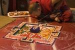 Monk creating sand mandala, Spituk Monastery.