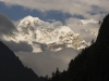 Snow capped peak  near Chame on Annapurna circuit trek