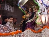 The groom, Bhavesh, in a horse drawn carriage during a procession through the street the night before the wedding.