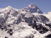 Mt. Everest, from the 5553 m/18,214 ft summit of Ngozumpa-tse known as Knobby View, Gokyo Valley.