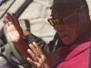 Dalai Lama arriving at a school in Leh