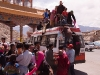 Getting off the roof of the bus I took back to Leh (the roof is already half empty)