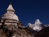 Ama Dablam, with a stupa hiking towards Phortse