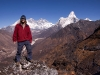 Me in front of Ama Dablam, Lhotse, and Everest, from the ridge behind Deboche.
