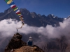 Prayer flags above Thyangboche monastery