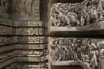 Detail on the 12th century Hoysalewara Temple, Halebid.