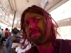 Me on the bus after Holi celebration in Hyderabad