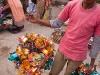 Street vender selling festive hats, Ima Market, Imphal