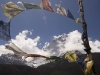 Prayer flags above Dingboche towards Ama Dablam.
