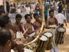 Drummers and horn musician during a Theyyam performance at a Rama temple, in Kannur District.