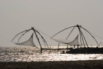 Chinese fishing nets on the north end of Vypin Island.  Near Kodungallor.
