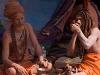 Naga Sadhu smoking a chillum, Kumbh Mela, Haridwar