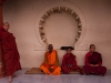 Monks outside of the Mahaparinirvana Temple, Kushinagar