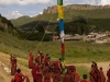 Monks raising another prayer flag.  It must have been prayer flag hanging day in Langmusi.