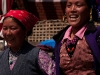 Women of Langtang dancing on their way down to retrieve articles for a new gompa