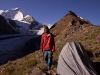 Me at my camp above Parkachik Glacier wih Nun behind