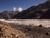 View of Parkachik Glacier while hiking towards Nun along the glacier