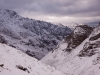 View from my camp at the base of the pass, after the snow storm