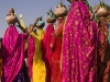 "Women carrying pots on there heads during the ""Spiritual Walk,"" Pushkar Camel Fair."