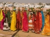 "Women carrying pots on there heads during the ""Spiritual Walk,"" Pushkar Camel Fair."