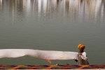 Drying turbans by the sacred lake, Pushkar.