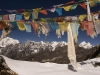Prayer flags at the top of the Renjo La towards the Bhote Valley.