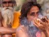 Naga Sadhu smoking charis, Kumbh Mela, Haridwar