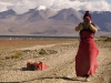 Pilgrims prostrating around Lake Manasarovar.