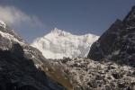Towards Goecha La (4950 m, 16,335 ft) and Kanchenjunga.