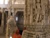 Jain woman inside Chaumukh Mandir (Jain temple) at Ranakpur.