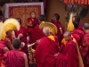 New Rimpoche being placed at his chairing ceremony, Spituk Monastery.