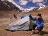 Karin at Stok Kangri Base Camp in front of my tent