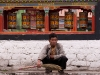 Prayer wheels by the market, Tawang