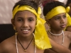 Kids dressed for a performance during a festival at the Sri Krishna temple in Guruvayur, Thrissur District.