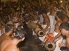 Drummers and dancing during an elephant procession for a temple festival in Thrissur.