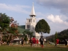 A soccer (football) match infront of the church in Tlabung