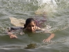 Girl swimming in the river, Maheshwar