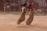 Sack race during sports festival, Yaoshang