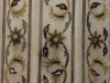 Detail of marble inlayed with semiprecious stones in the Red Fort, Agra.