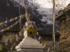 Stupa and Gangapurna, Manang, Annapurna circuit trek.