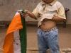 Boy  with congress party flag in Tyrna, near Cherrapunjee