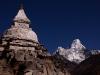Ama Dablam, with a stupa hiking towards Phortse