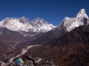 View of Ama Dablam, Lhotse, and Everest, from the ridge behind Deboche.
