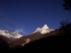 Ama Dablam, Everest and Lhotse from near Deboche