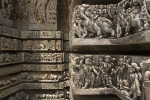 Detail on the 12th century Hoysalewara Temple, Halebid.