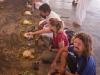 Robin, Sarah, and Deepak eating the Temple meal at Shri Shri Narsinga Mandir, Imphal