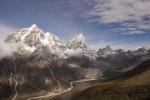 View of Taboche (far left) and Cholatse (center) peaks from Nangkartshang peak, Dingboche.