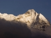 Snow capped peak revealed through the clouds, Namche.