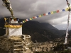 Stupa and prayer flags above upper Pangboche.